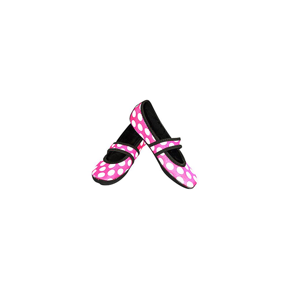NuFoot Betsy Lou Travel Slipper Patterns L Pink Big White Dot Large NuFoot Women s Footwear