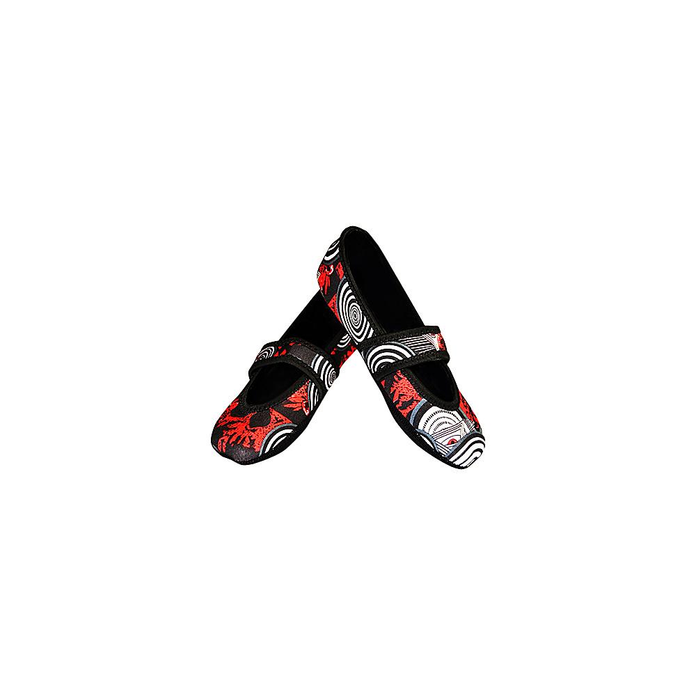 NuFoot Betsy Lou Travel Slipper Patterns L Black Red Eyes Large NuFoot Women s Footwear