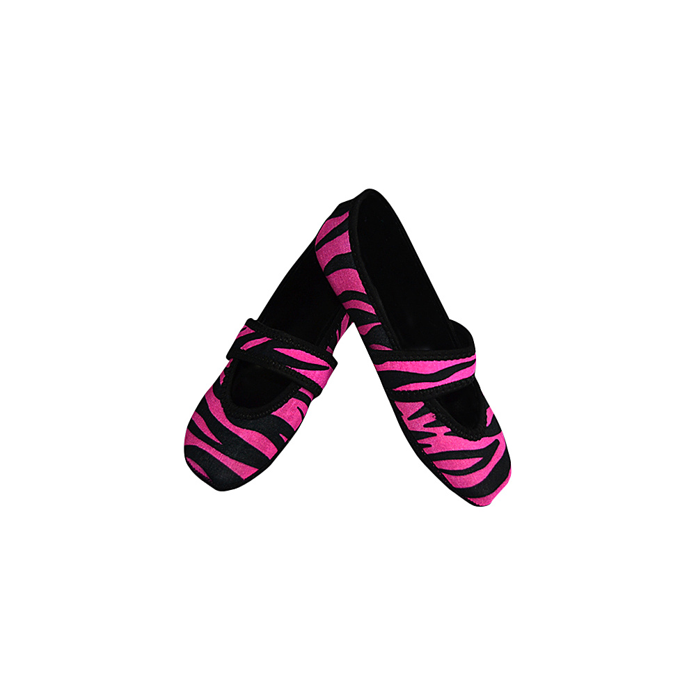 NuFoot Betsy Lou Travel Slipper Patterns L Pink Zebra Large NuFoot Women s Footwear
