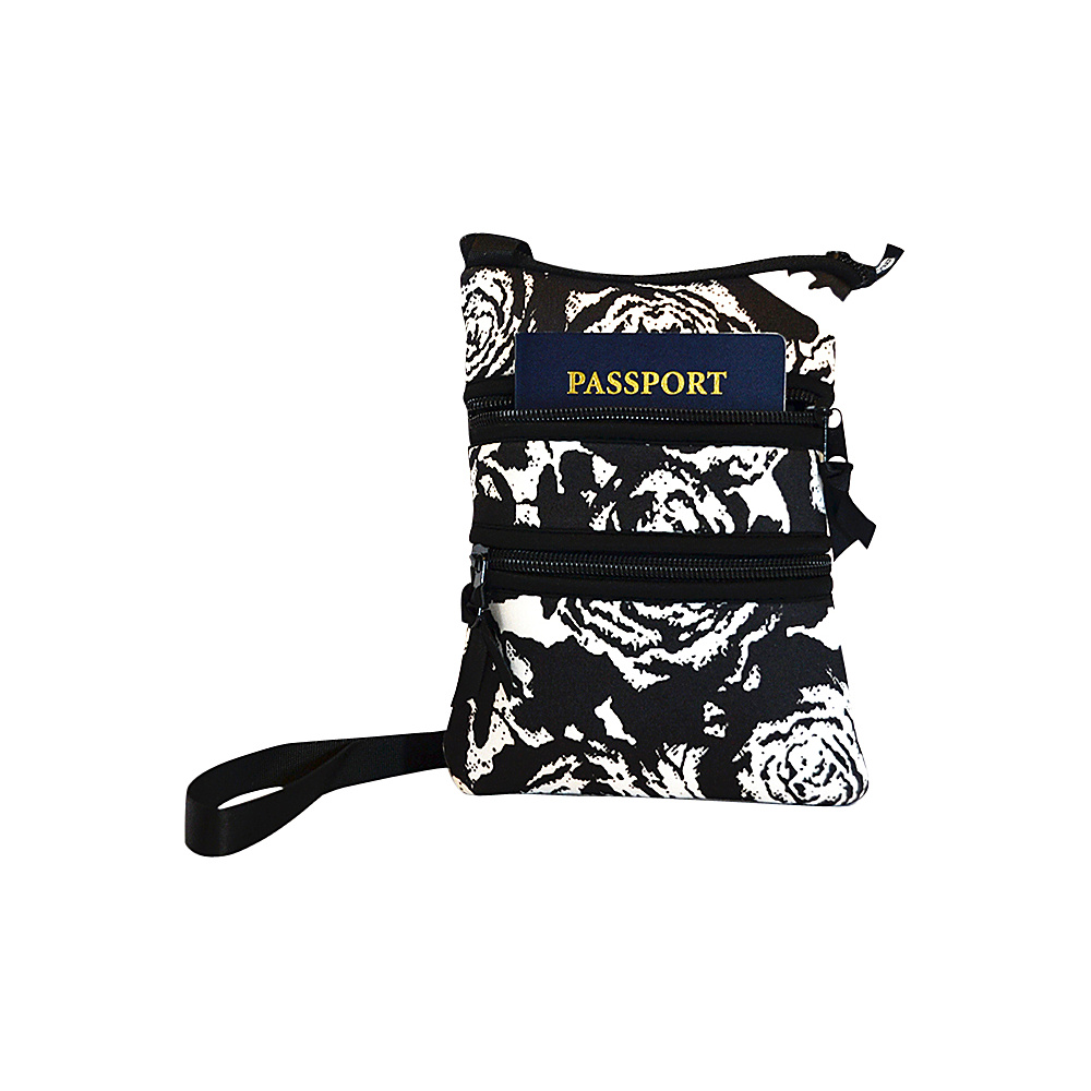 NuFoot NuPouch Passport Slings Black amp; White Roses NuFoot Travel Wallets