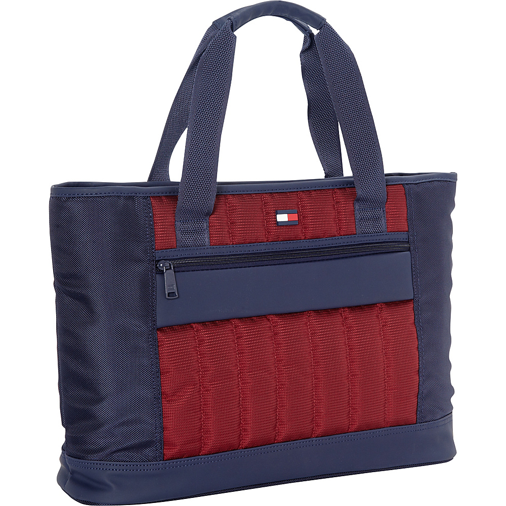 "Tommy Hilfiger Luggage Classic Sport 17"" Weekender Shopper Tote Navy/Burgundy - Tommy Hilfiger Luggage Luggage Totes and Satchels"