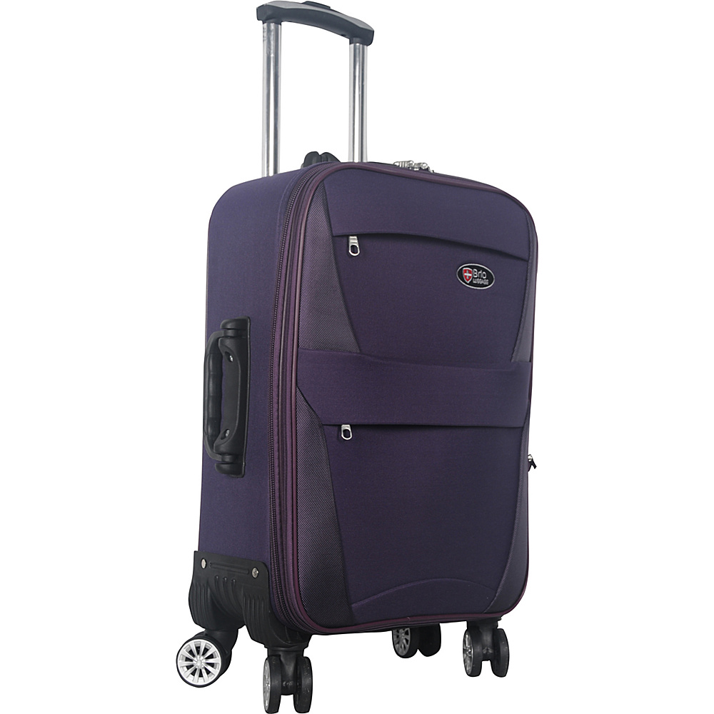 "Brio Luggage 22"" Carry-On Softside Trolley Case Luggage Purple - Brio Luggage Softside Carry-On"