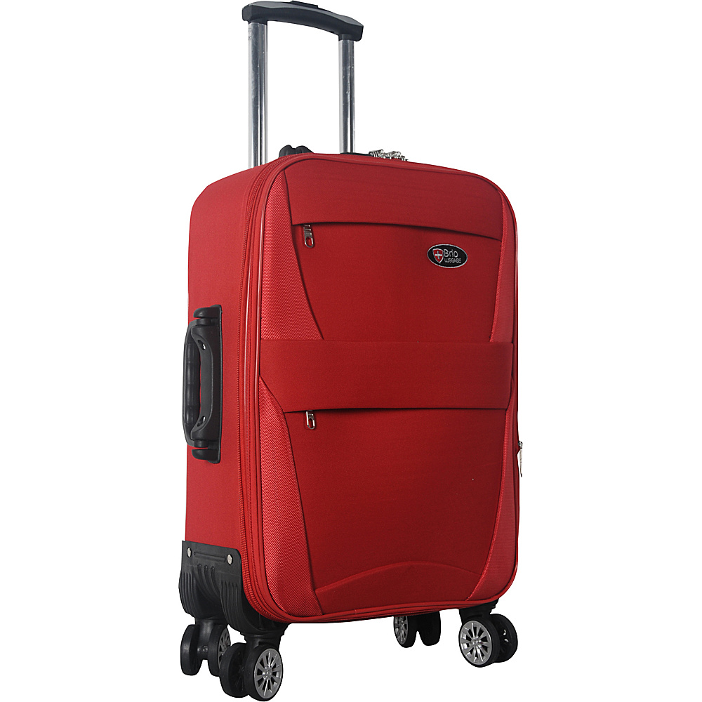 "Brio Luggage 22"" Carry-On Softside Trolley Case Luggage Red - Brio Luggage Softside Carry-On"