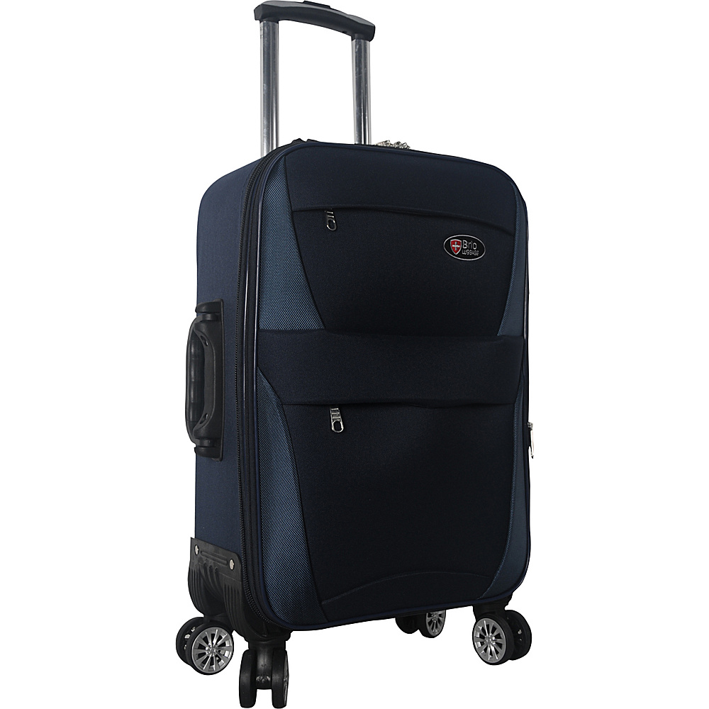 "Brio Luggage 22"" Carry-On Softside Trolley Case Luggage Blue - Brio Luggage Small Rolling Luggage"