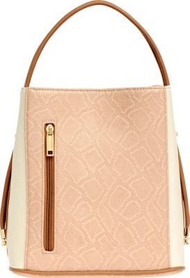 Samoe Classic Convertible Handbag Bisque Snakeskin/ Cream/ Luggage Handle - Samoe Manmade Handbags