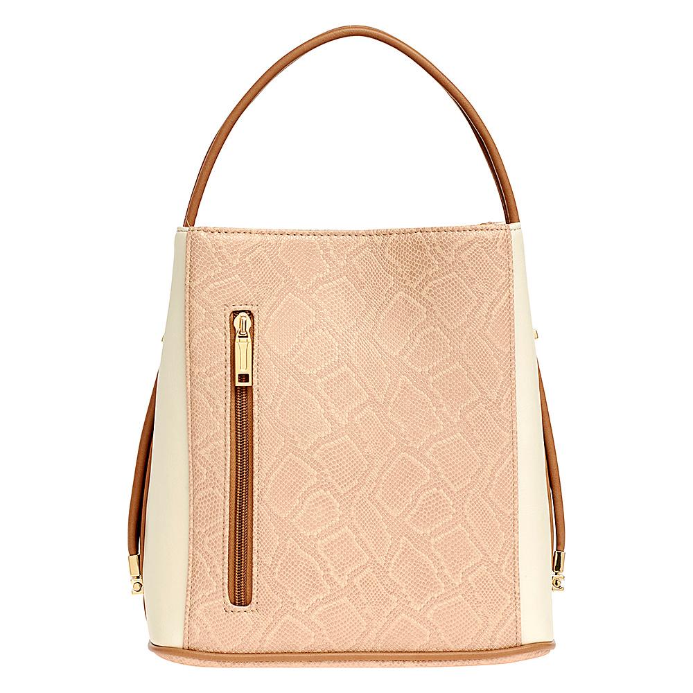 Samoe Classic Convertible Handbag Bisque Snakeskin Cream Luggage Handle Samoe Manmade Handbags