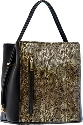 Samoe Classic Convertible Handbag Black and gold Snakeskin/ Black Handle - Samoe Manmade Handbags