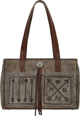 American West Cross My Heart Shopper Tote With Outside Pocket Distressed Charcoal - American West Leather Handbags