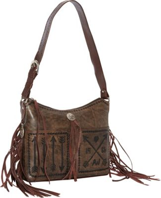 American West Cross My Heart Shopper Tote With Outside Pocket Distressed Charcoal - American West Leather Handbags 10436619