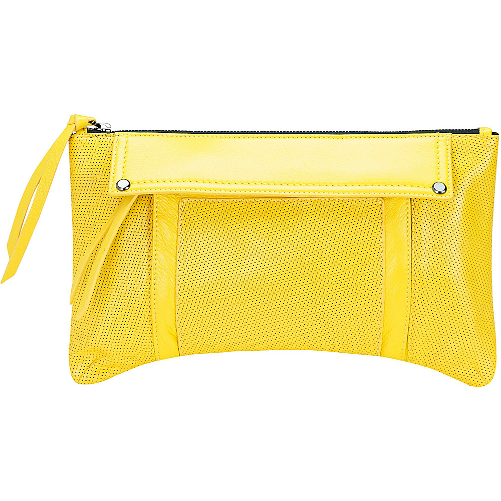 MOFE Kismet Clutch Yellow Gunmetal Hardware MOFE Leather Handbags