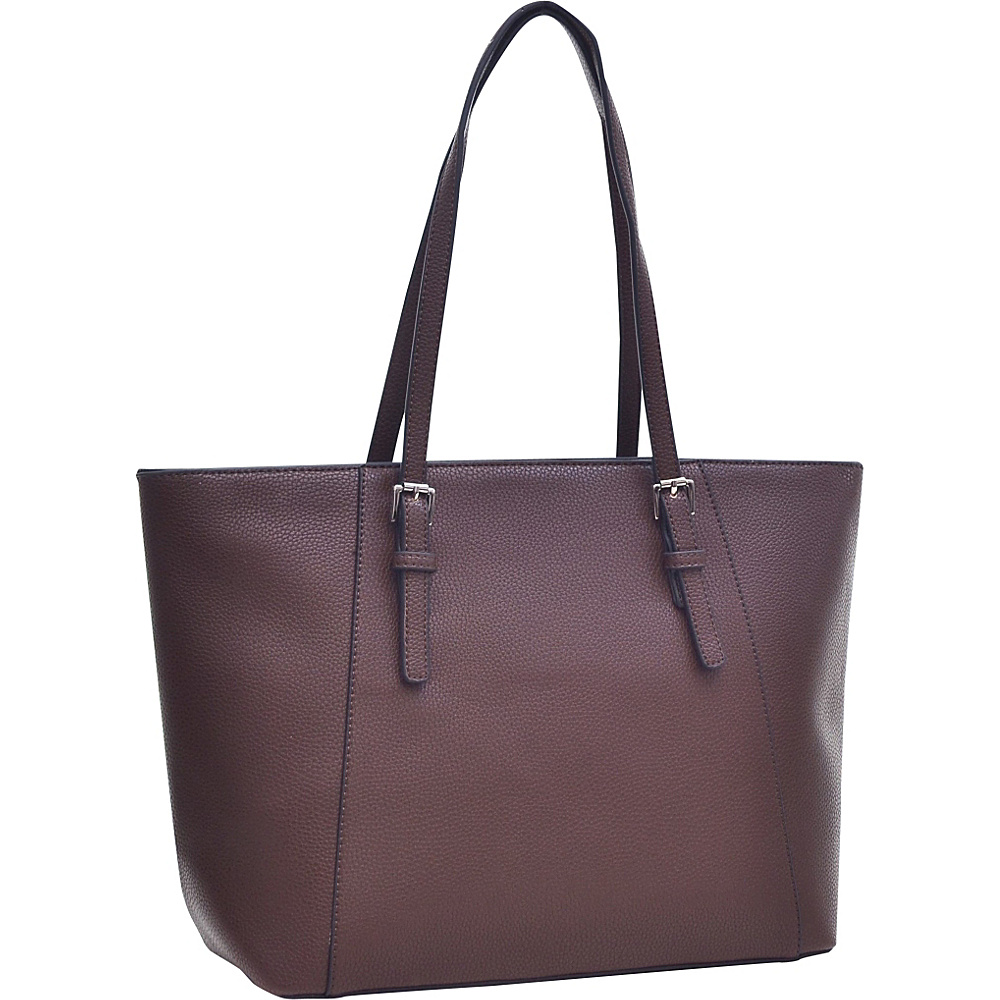 Dasein Faux Leather Buckle Strap Tote Coffee - Dasein Manmade Handbags - Handbags, Manmade Handbags