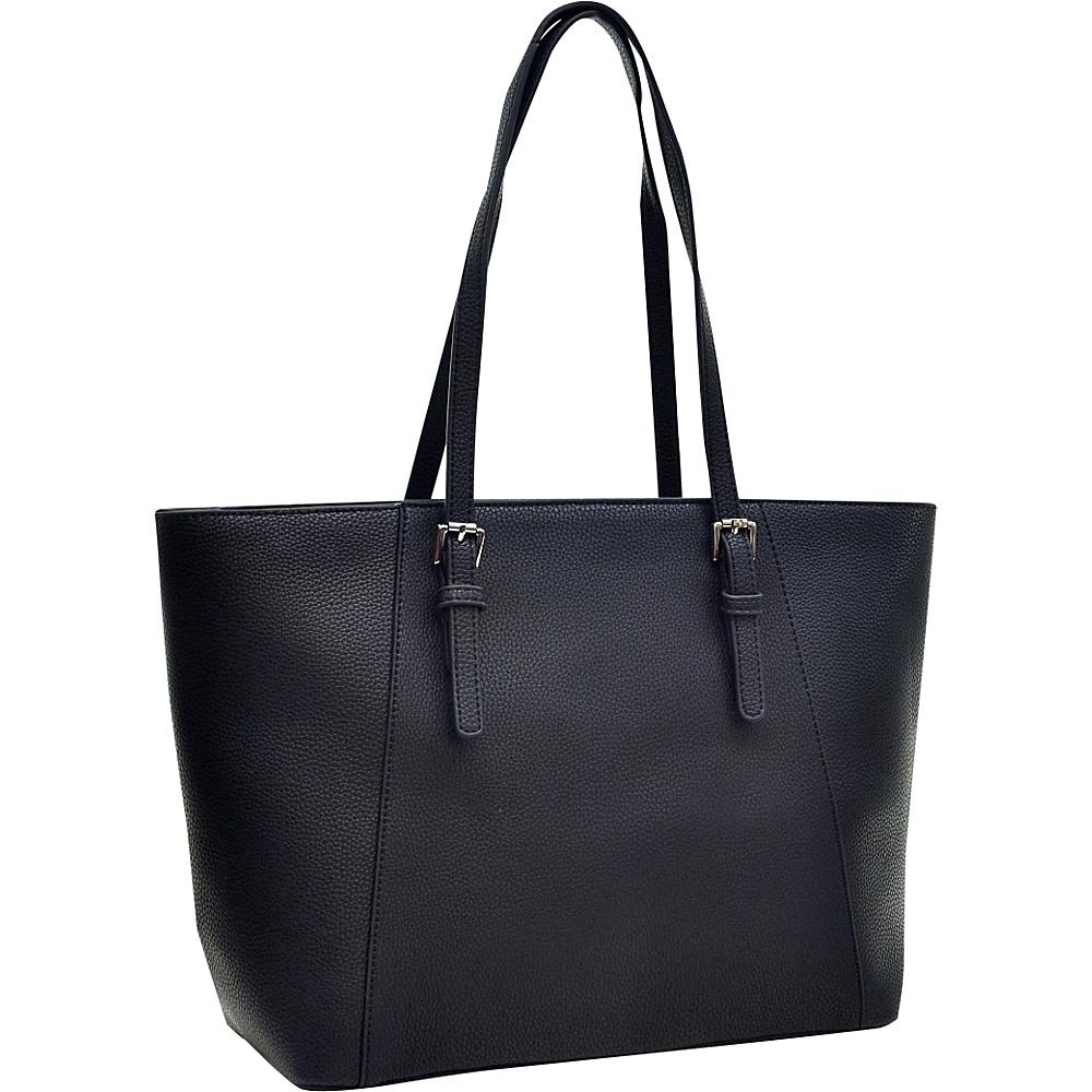 Dasein Faux Leather Buckle Strap Tote Black - Dasein Manmade Handbags - Handbags, Manmade Handbags