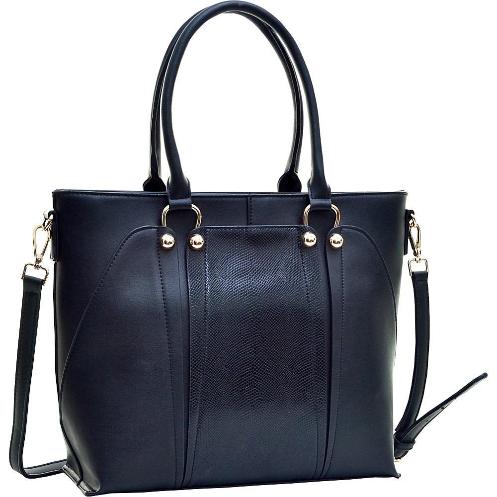 Dasein Gold-Tone Python Snakeskin Large Tote Black - Dasein Manmade Handbags - Handbags, Manmade Handbags