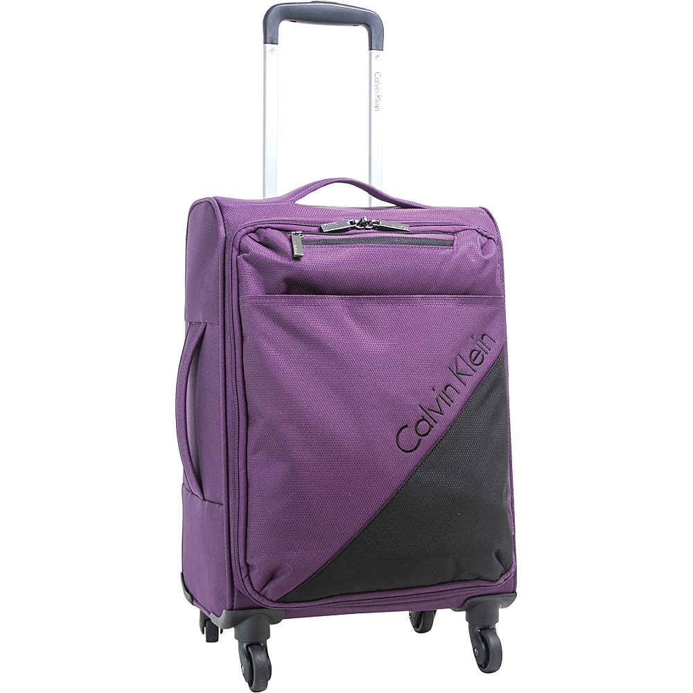 Calvin Klein Luggage Chelsea 21 Carry-On Softside Spinner Purple - Calvin Klein Luggage Small Rolling Luggage