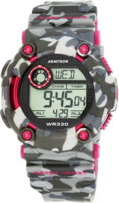 Armitron Sport Unisex Pink Accented Digital Chronograph Black and Grey Camouflage Resin Strap Watch Pink Camoflauge - Armitron Watches