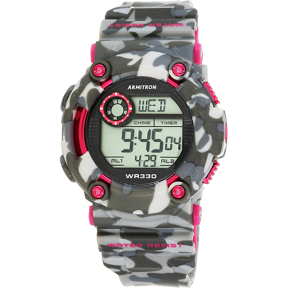 Armitron Sport Unisex Pink Accented Digital Chronograph Black and Grey Camouflage Resin Strap Watch Pink Camoflauge Armitron Watches