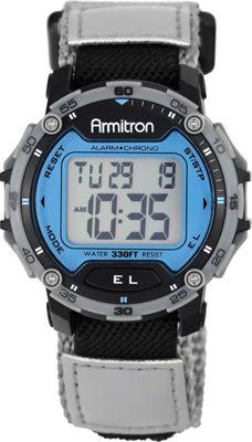 Armitron Sport Mens Grey Velcro Strap Digital Chronograph Watch Blue - Armitron Watches