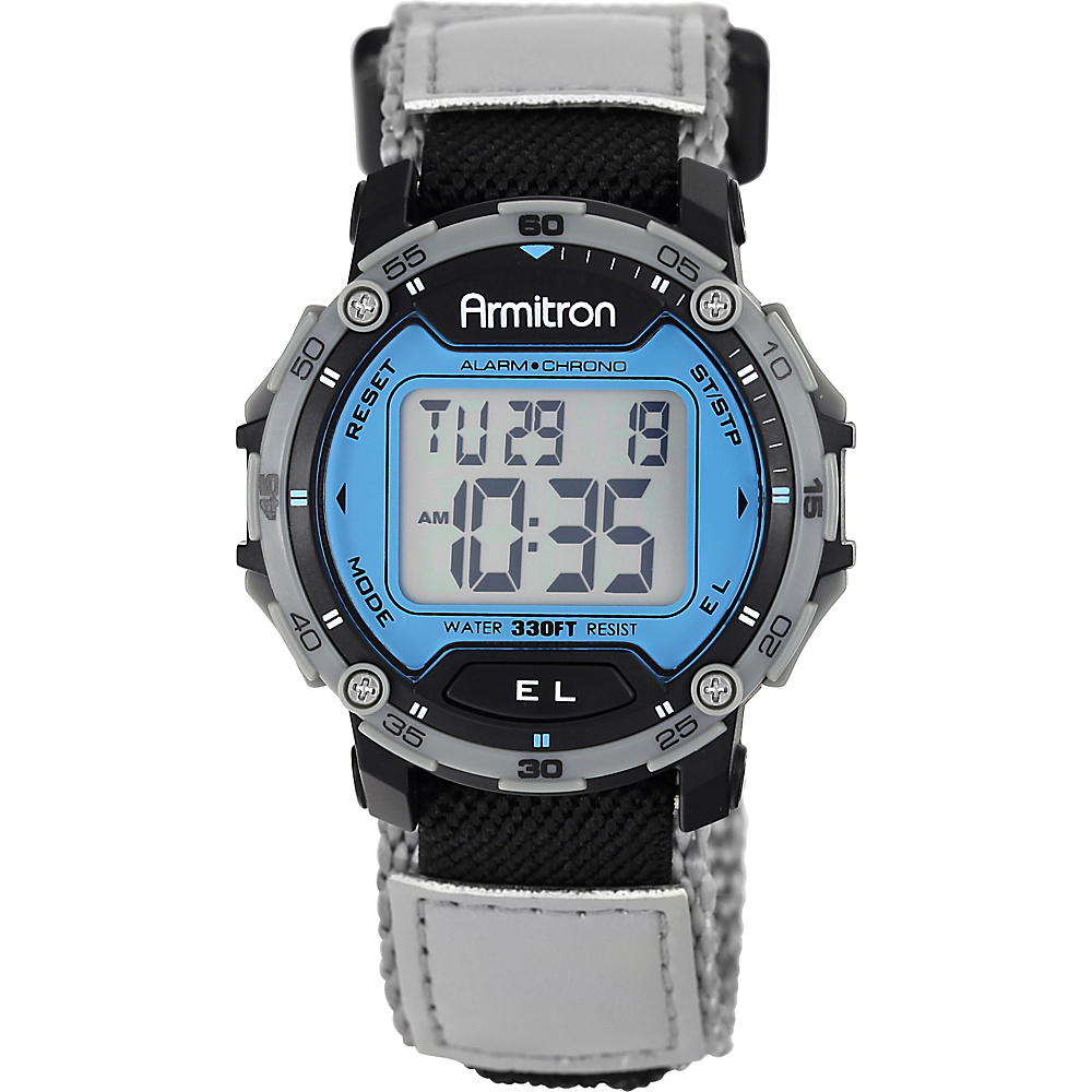 Armitron Sport Mens Grey Velcro Strap Digital Chronograph Watch Blue Armitron Watches