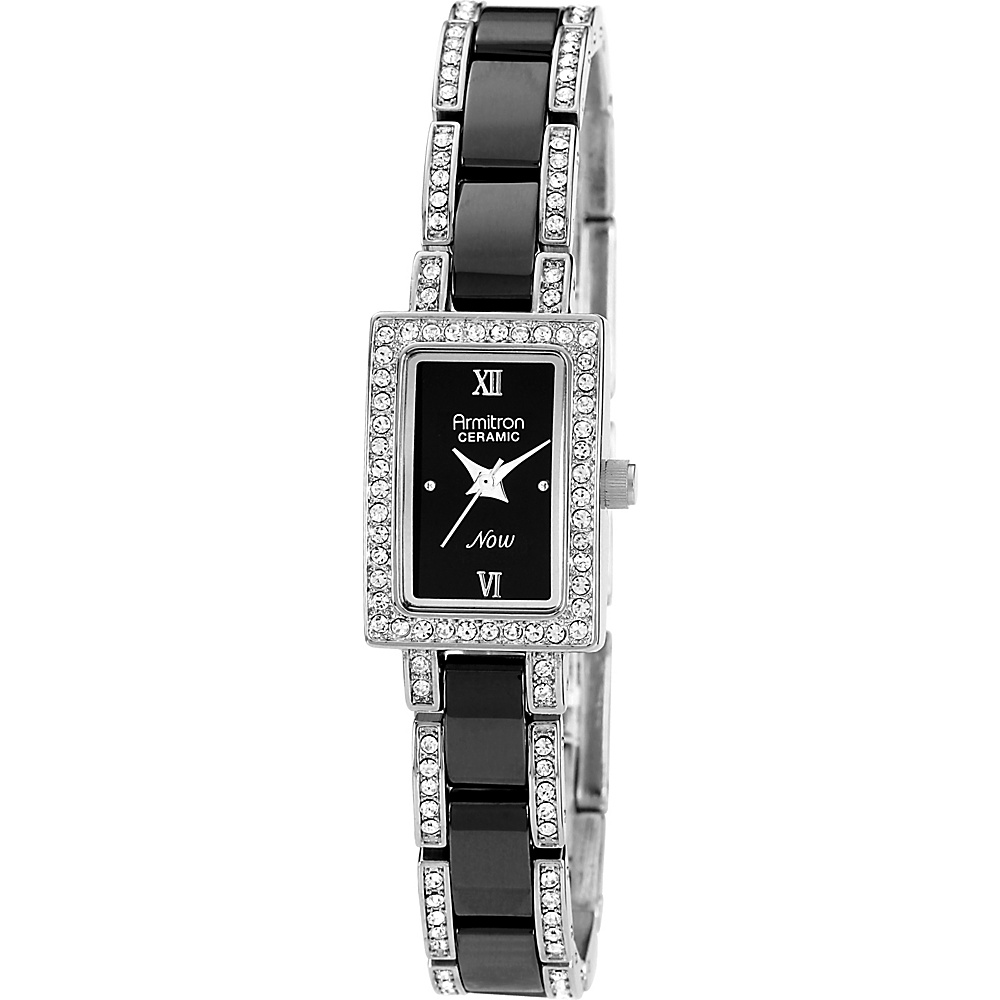 Armitron Womens Black Ceramic Silver Tone Swarovski Crystal Accented Bracelet Watch Silver Armitron Watches