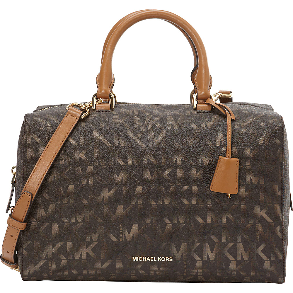 MICHAEL Michael Kors Kirby Large Satchel Brown - MICHAEL Michael Kors Designer Handbags