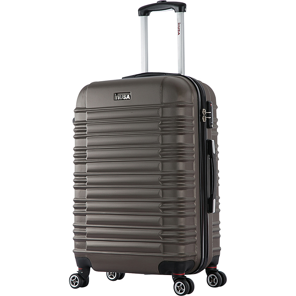 inUSA New York Collection 24 Lightweight Hardside Spinner Suitcase Brown inUSA Hardside Checked