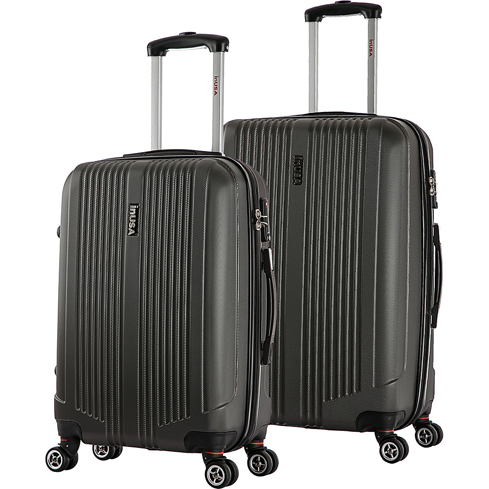 inUSA San Francisco ML 2 Piece Lightweight Hardside Spinner Luggage Set Charcoal inUSA Luggage Sets