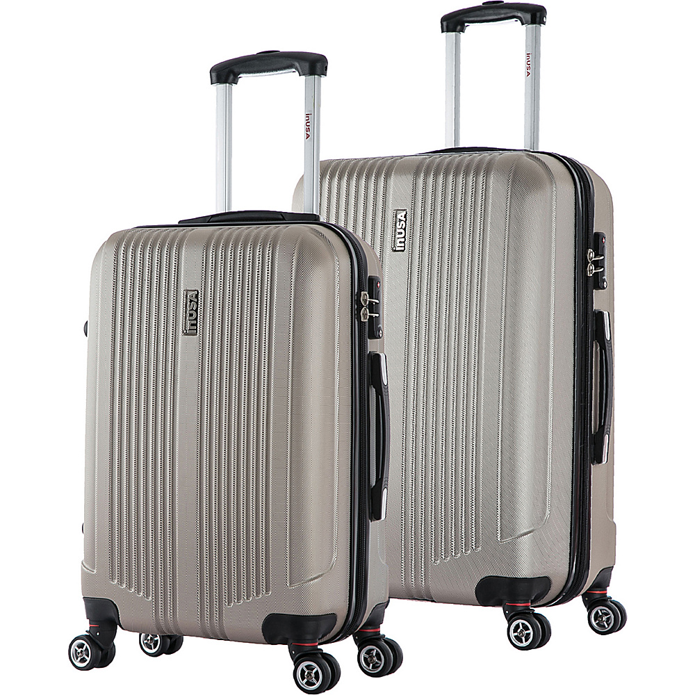 inUSA San Francisco ML 2 Piece Lightweight Hardside Spinner Luggage Set Champagne inUSA Luggage Sets