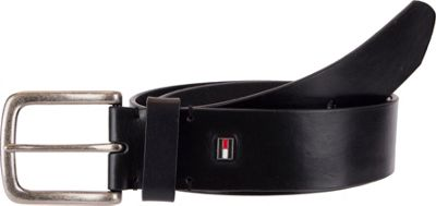 Tommy Hilfiger Accessories 40MM Non-Reversible With Bar Tacking and Inlaid Flag Logo Ornament 38 - Black - Tommy Hilfiger Accessories Other Fashion Accessories