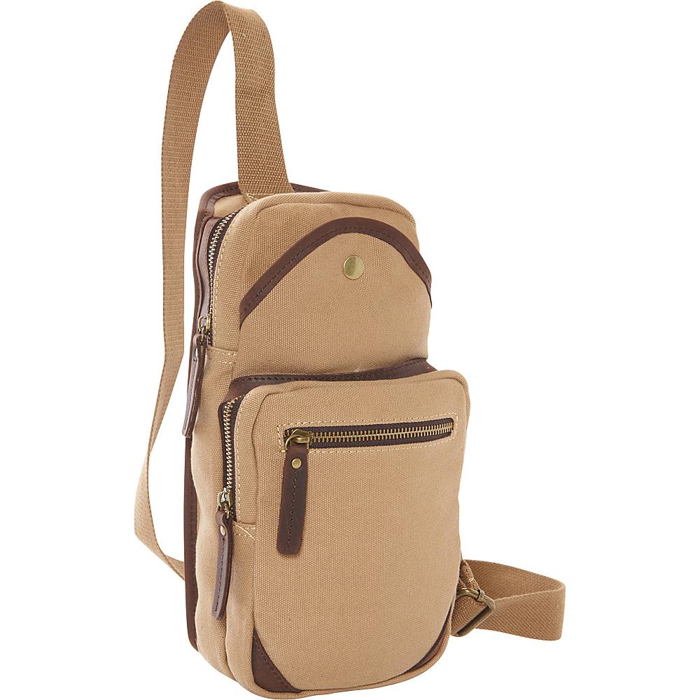 Vagabond Traveler Cotton Canvas Travel Chest Pack Khaki - Vagabond Traveler Slings - Backpacks, Slings