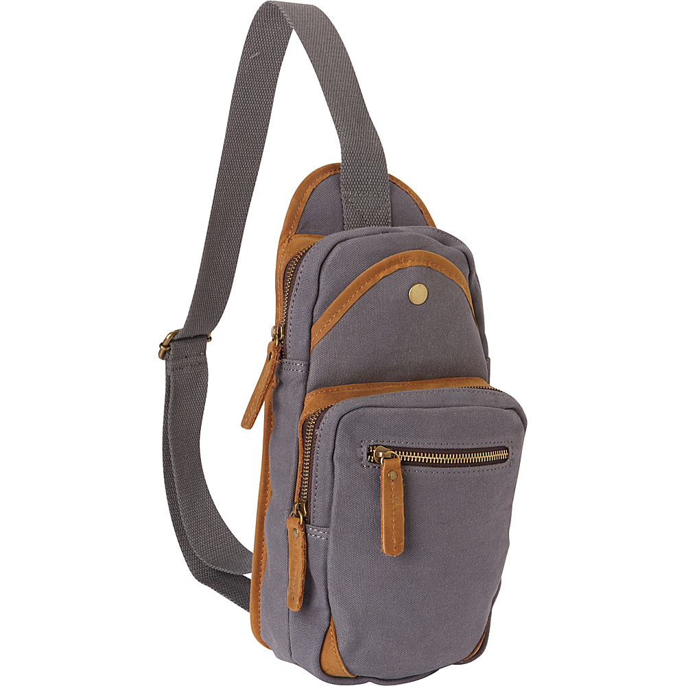 Vagabond Traveler Cotton Canvas Travel Chest Pack Blue Grey - Vagabond Traveler Slings - Backpacks, Slings