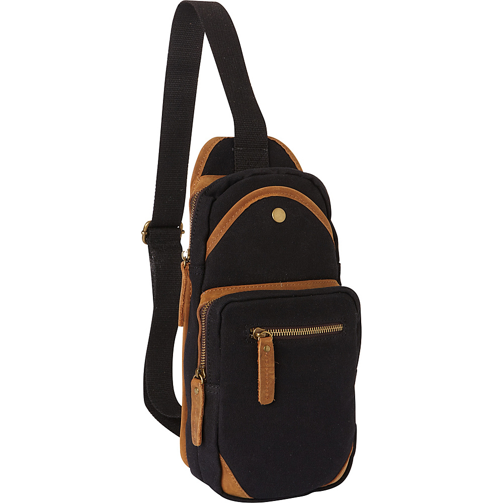 Vagabond Traveler Cotton Canvas Travel Chest Pack Black - Vagabond Traveler Slings - Backpacks, Slings