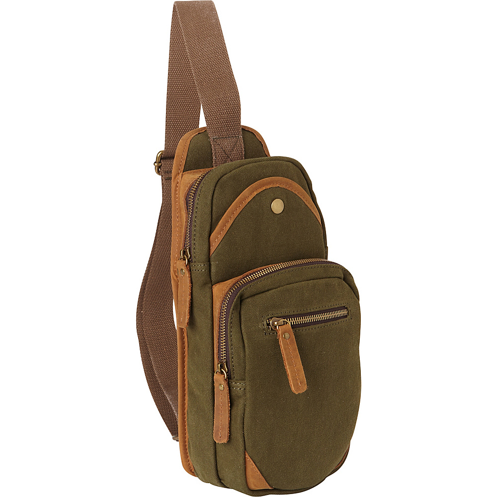 Vagabond Traveler Cotton Canvas Travel Chest Pack Green - Vagabond Traveler Slings - Backpacks, Slings