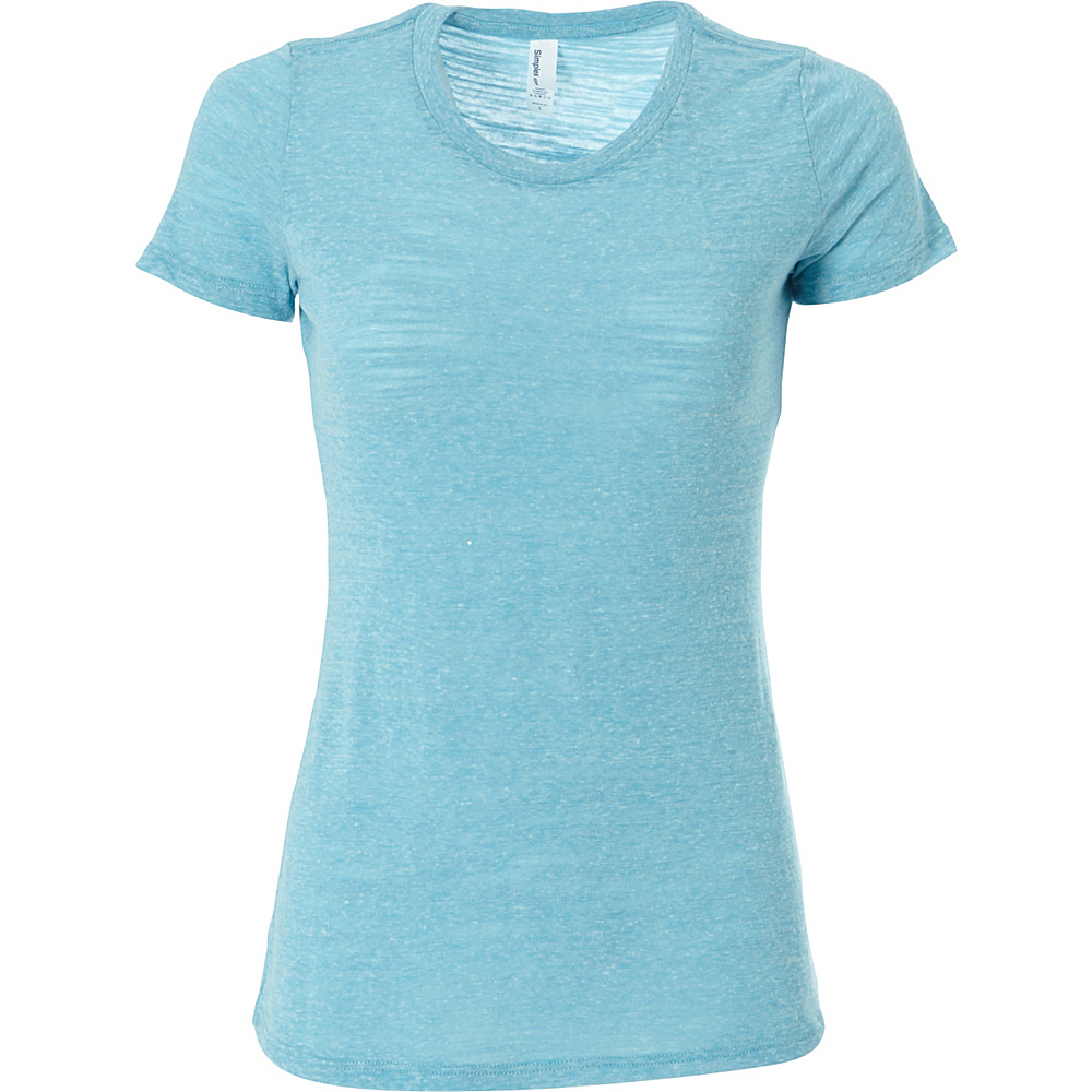 Simplex Apparel Triblend Slub Womens Crew Tee M - Aqua - Simplex Apparel Womens Apparel - Apparel & Footwear, Women's Apparel