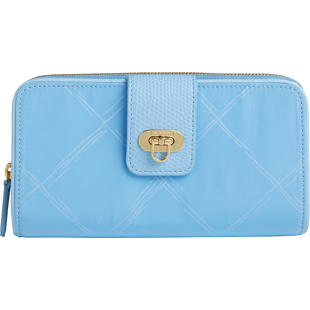 Vera Bradley Preppy Poly Wallet- Retired Colors Sky Blue - Vera Bradley Ladies Clutch Wallets
