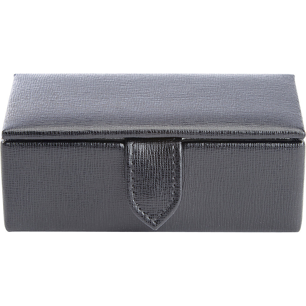 Royce Leather Suede Lined Travel Cufflink Storage Box in Saffiano Genuine Leather, Fits 2 Pairs Black - Royce Leather Travel Organizers - Travel Accessories, Travel Organizers
