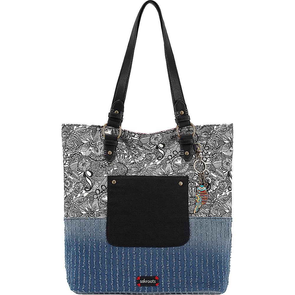 Sakroots Artist Circle Soft Tote Black & White Spirit Desert - Sakroots Designer Handbags