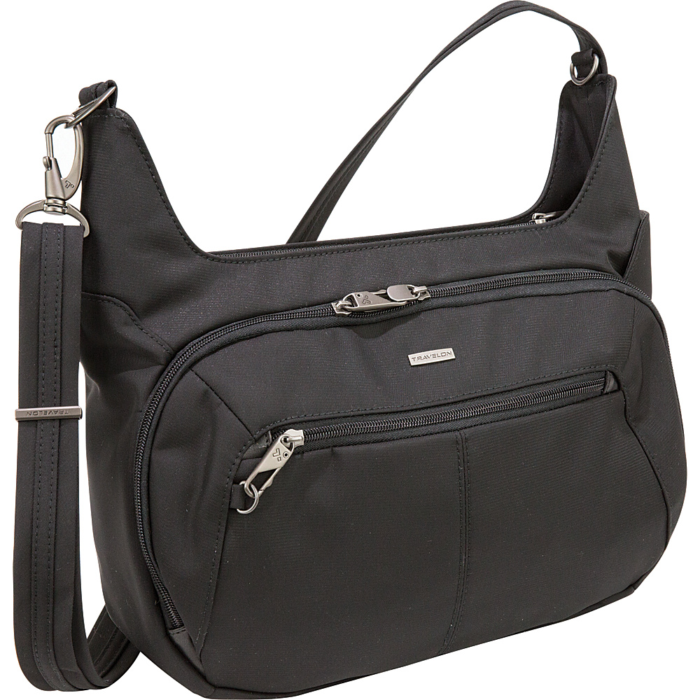Travelon Anti-Theft Concealed Carry Hobo Black/Grey Interior - Travelon Fabric Handbags - Handbags, Fabric Handbags