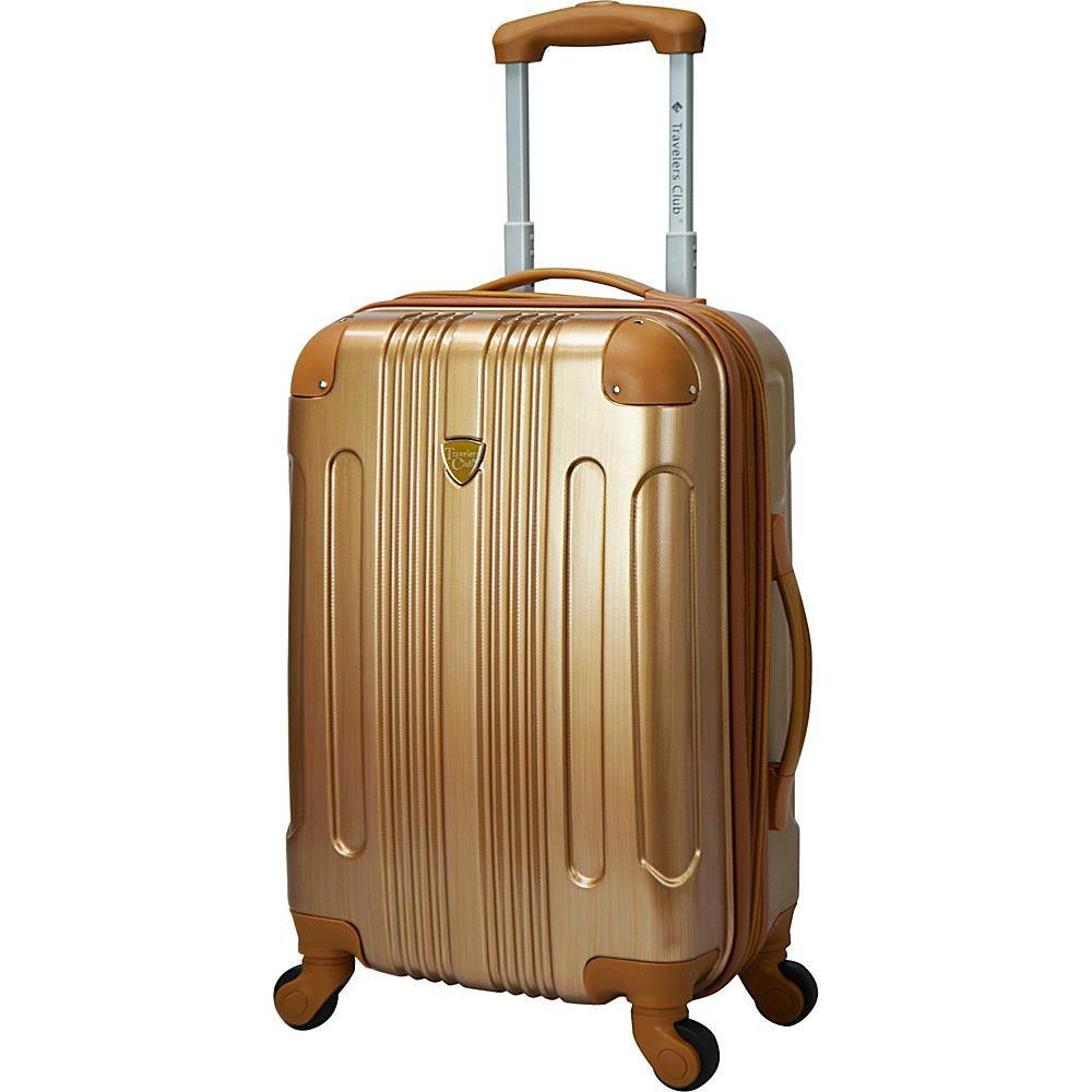"""Travelers Club Luggage Polaris 20"""" Metallic Hardside Expandable Carry-On Spinner Pale Gold - Travelers Club Luggage Hardside Carry-On"""