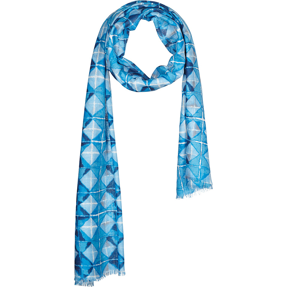 Kinross Cashmere Beach Tile Print Scarf Marina Multi - Kinross Cashmere Hats/Gloves/Scarves - Fashion Accessories, Hats/Gloves/Scarves