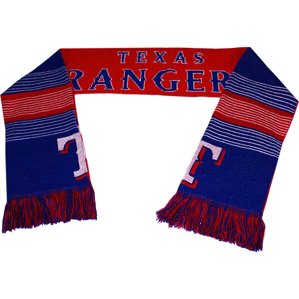 Forever Collectibles MLB Reversible Split Logo Scarf Blue Texas Rangers Forever Collectibles Hats Gloves Scarves