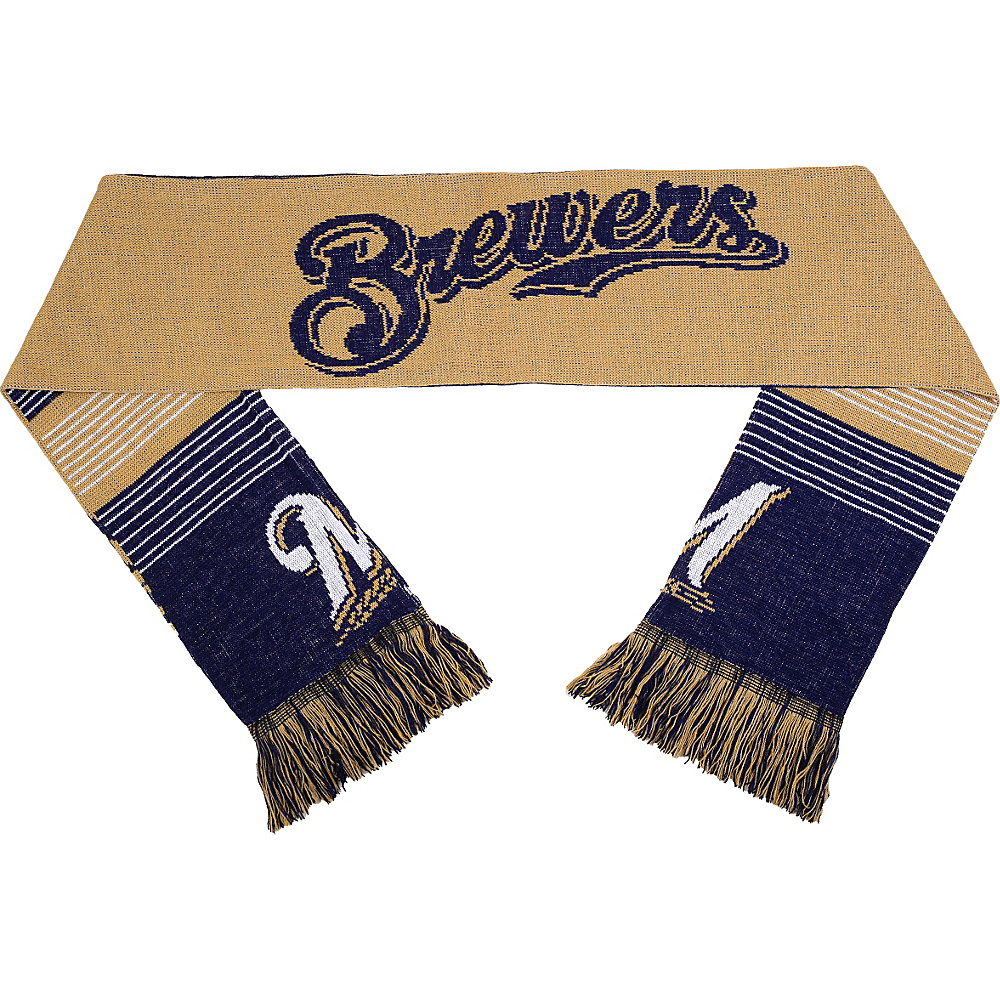Forever Collectibles MLB Reversible Split Logo Scarf Blue Milwaukee Brewers Forever Collectibles Hats Gloves Scarves