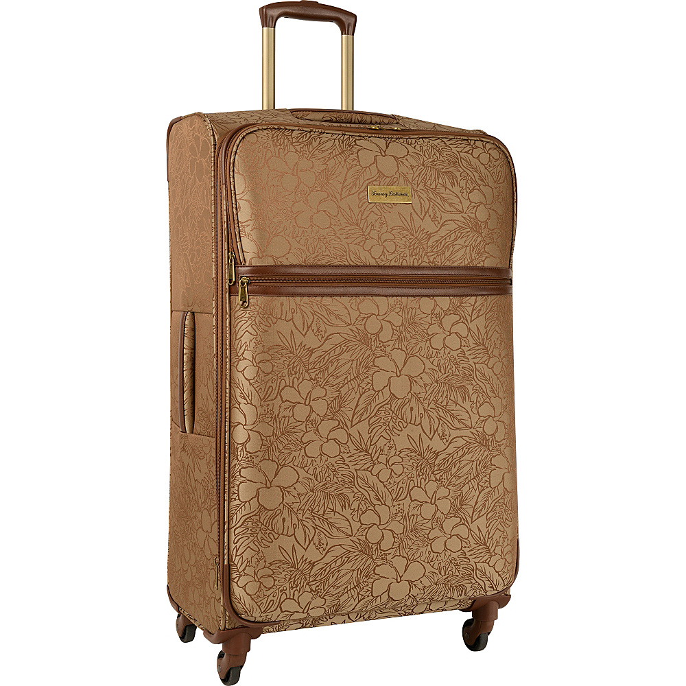 Tommy Bahama Mahalo 29 Expandable Spinner Suitcase Brown Tan Hibiscus Tommy Bahama Softside Checked