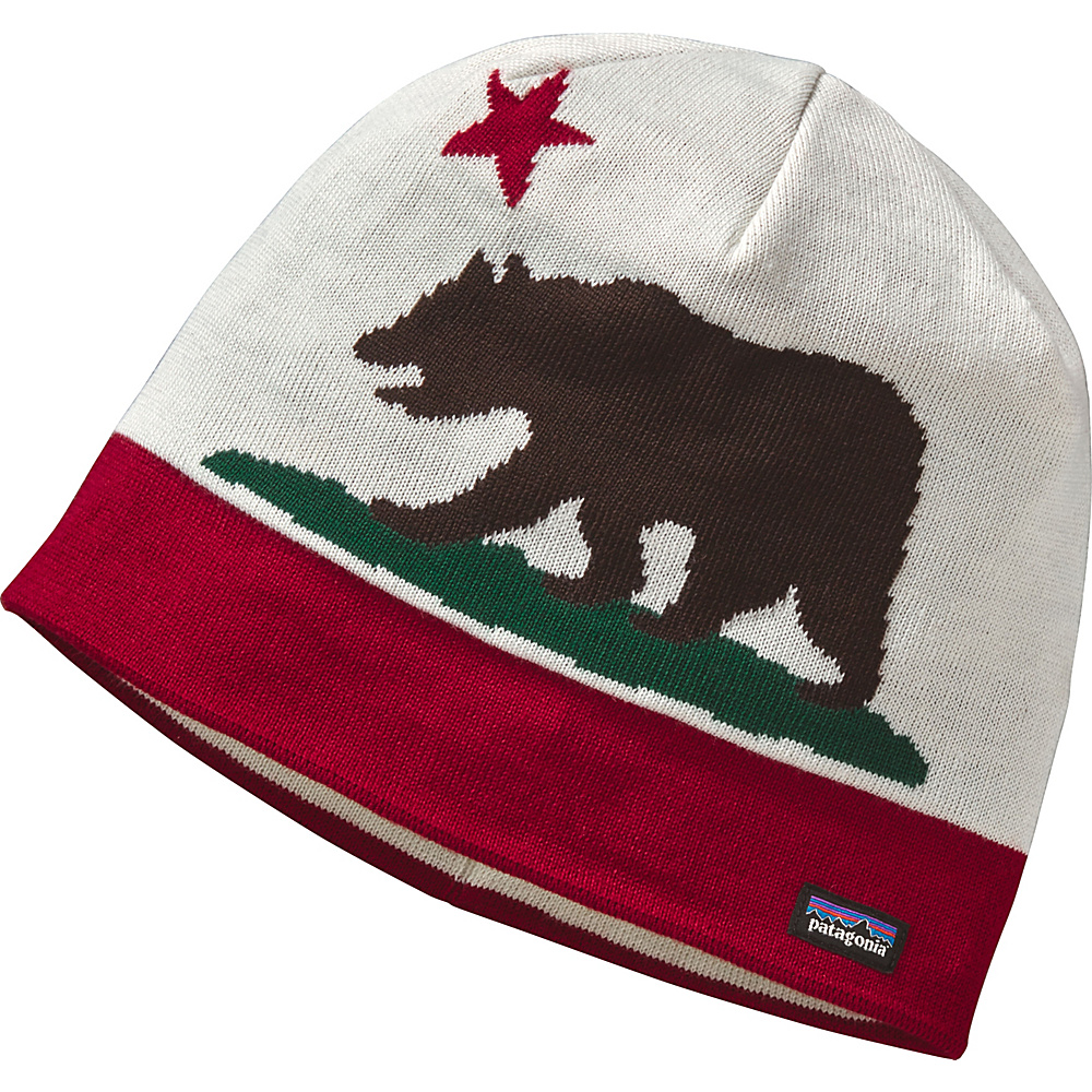 Patagonia Beanie Hat One Size - California Bear: Wax Red - Patagonia Hats/Gloves/Scarves - Fashion Accessories, Hats/Gloves/Scarves