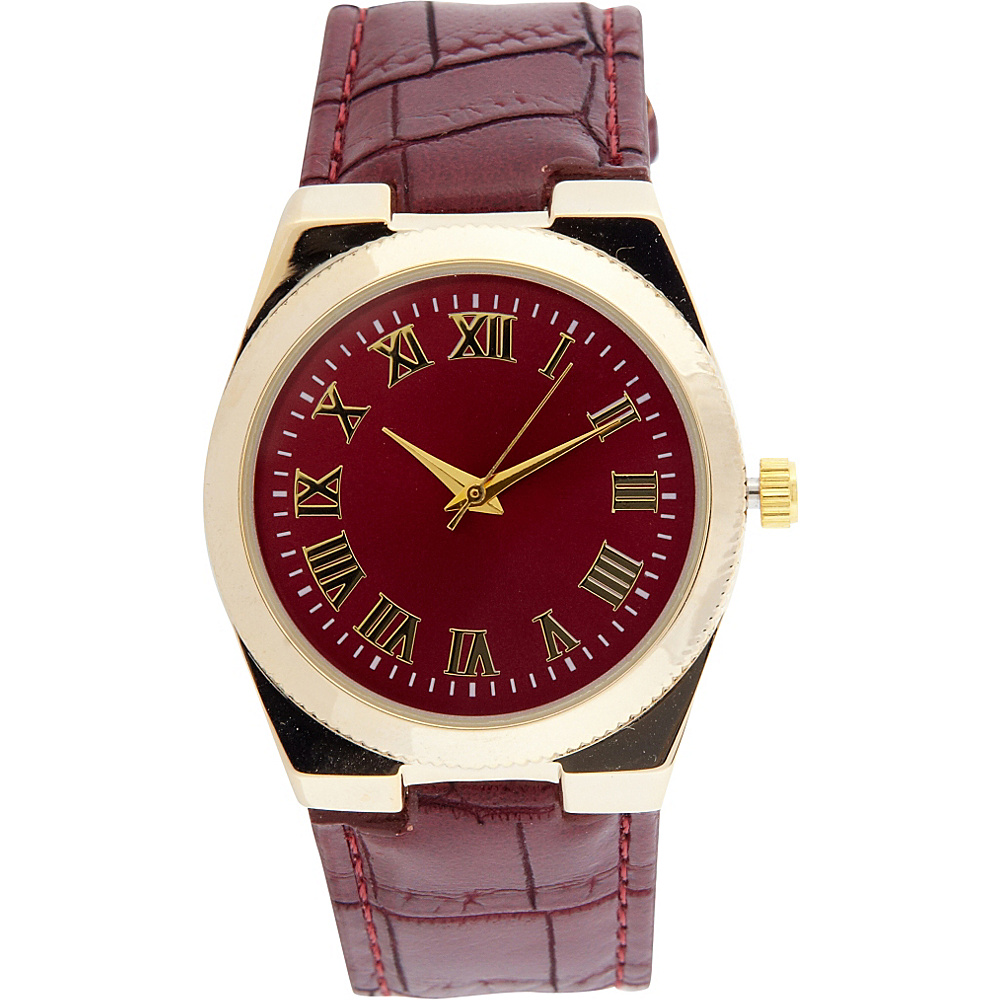 Samoe Band Watch Burgundy Croco Round Face Samoe Watches