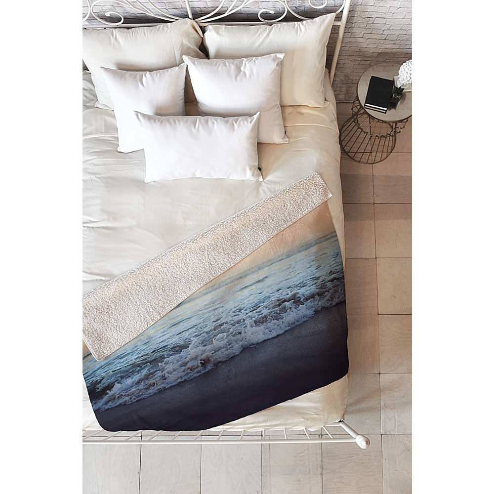 DENY Designs Leah Flores Sherpa Fleece Blanket Ocean Blue Crash into Me DENY Designs Travel Pillows Blankets
