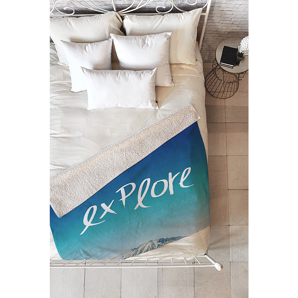 DENY Designs Leah Flores Sherpa Fleece Blanket Ice Blue Explore DENY Designs Travel Pillows Blankets