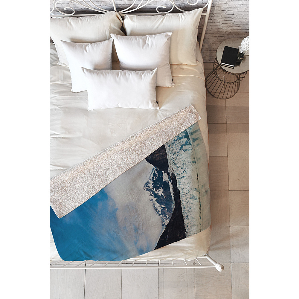 DENY Designs Leah Flores Sherpa Fleece Blanket Sky Blue Glacier Bay National Park DENY Designs Travel Pillows Blankets