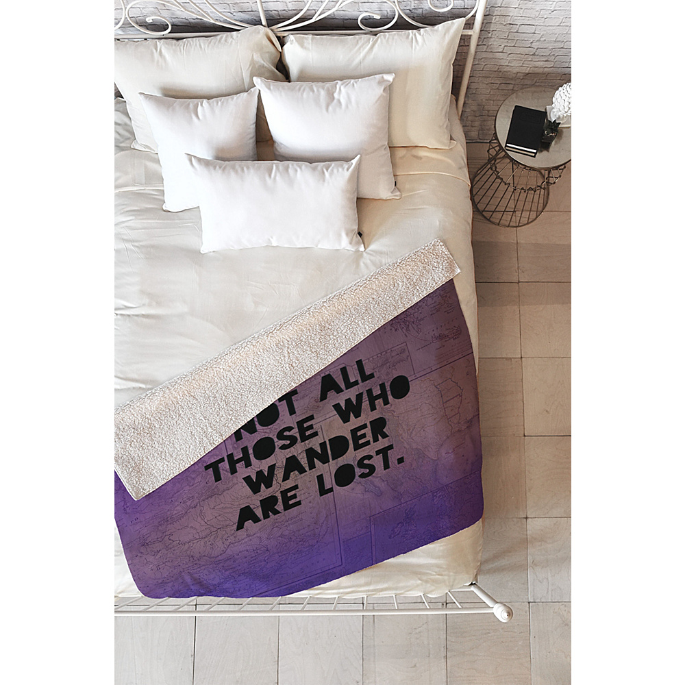 DENY Designs Leah Flores Sherpa Fleece Blanket Deep Purple Those Who Wander DENY Designs Travel Pillows Blankets