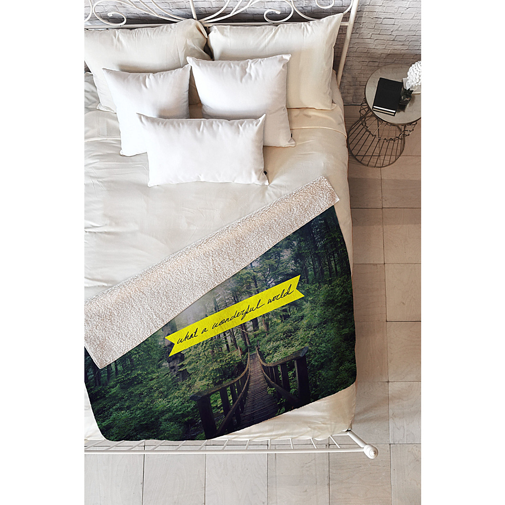 DENY Designs Leah Flores Sherpa Fleece Blanket Forest Green What a Wonderful World DENY Designs Travel Pillows Blankets