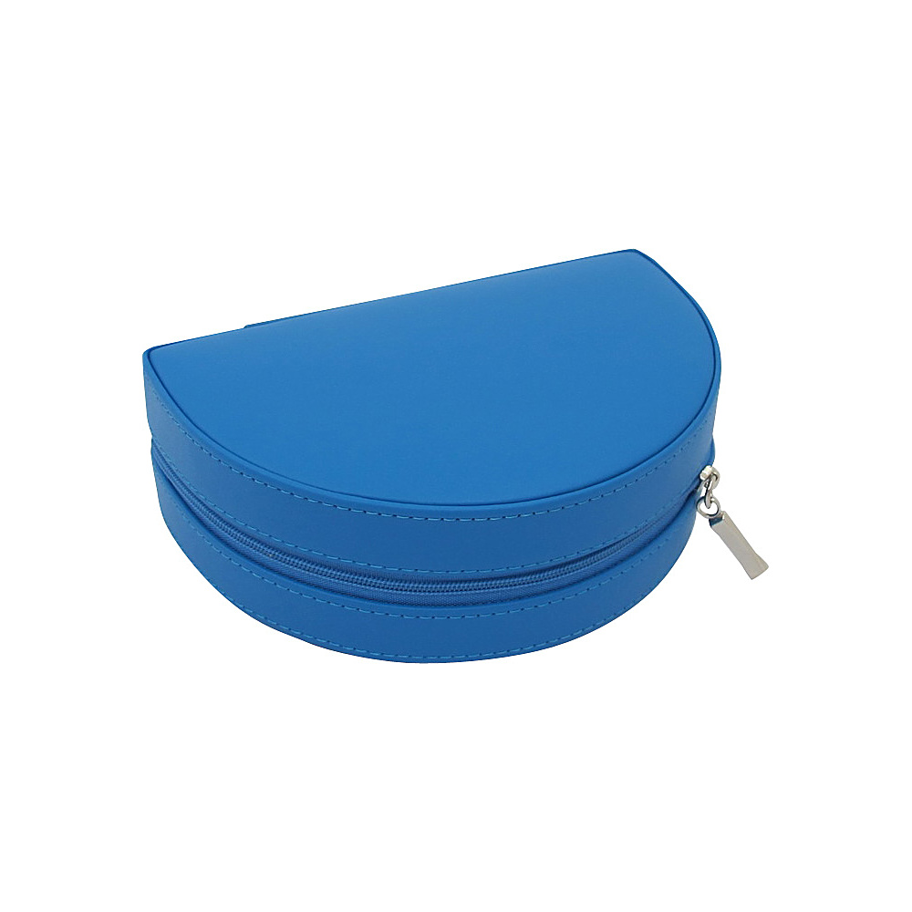 Budd Leather Zippered Half Moon Jewelry Box Blue Budd Leather Travel Organizers